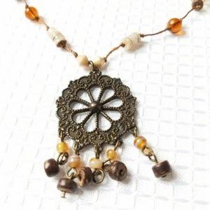 Retro Pinwheel Pendant Vintage Look Necklace